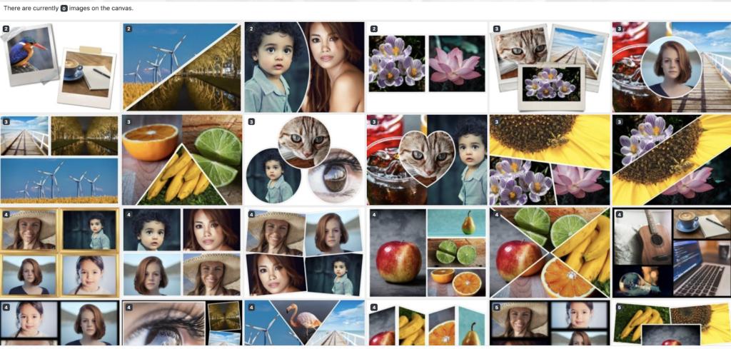 Bạn có thể lựa chọn template có sẵn để ghép ảnh dễ dàng