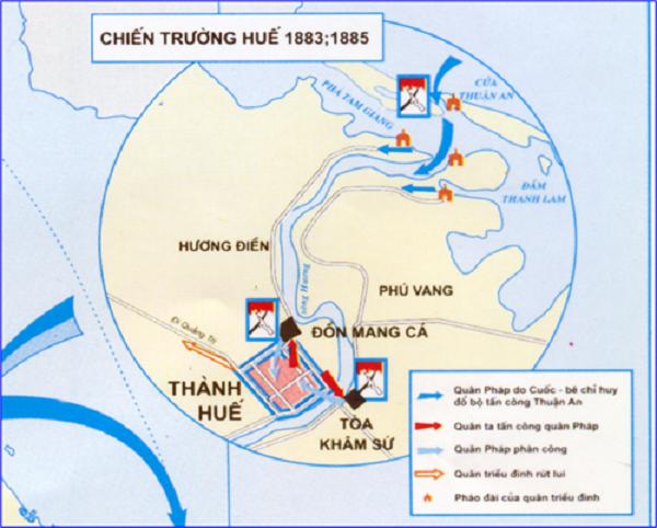 bản đồ cuộc phản công ở kinh thành Huế