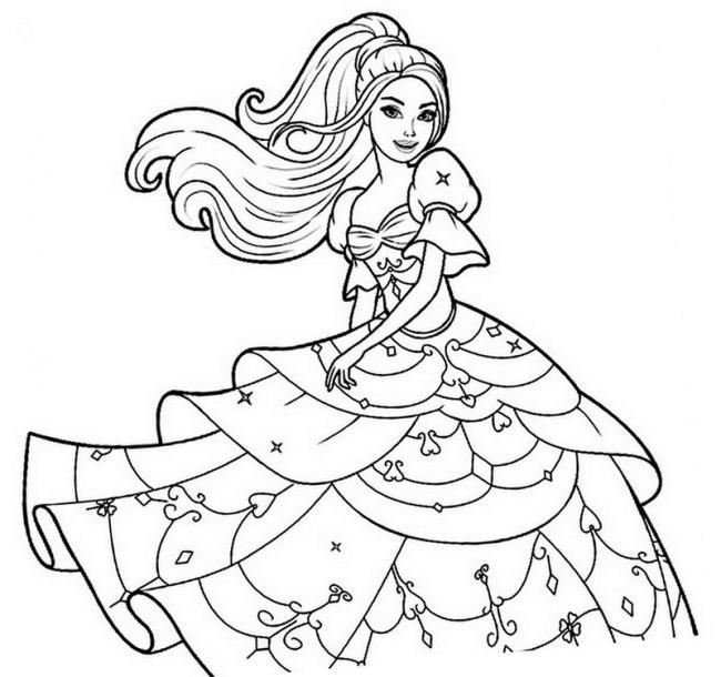 BaTranh búp bê barbie mặc váy tầng