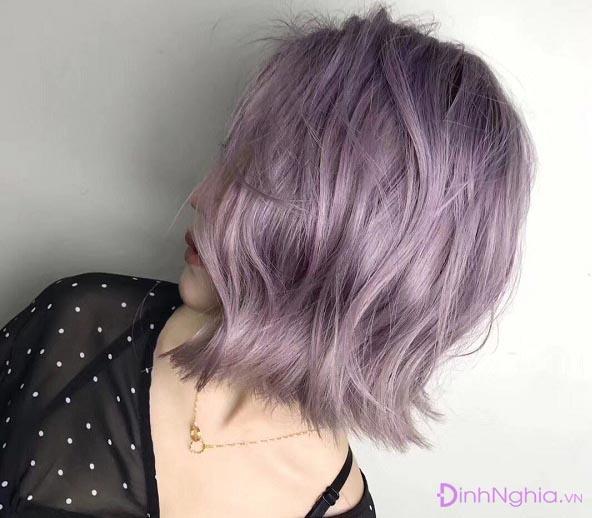 cách nhuộm tóc màu tím khói