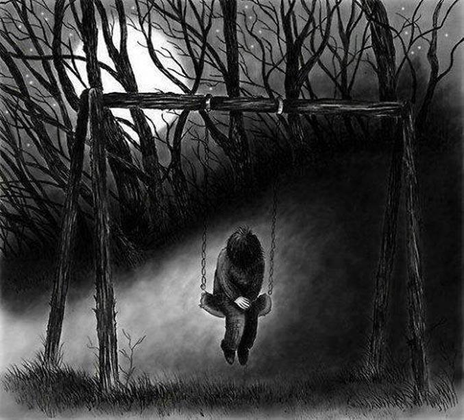 Hình ảnh cô đơn buồn tủi 1 mình về đêm với xích đu