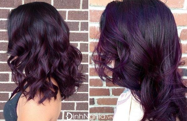 hình ảnh nhuộm tóc màu tím than