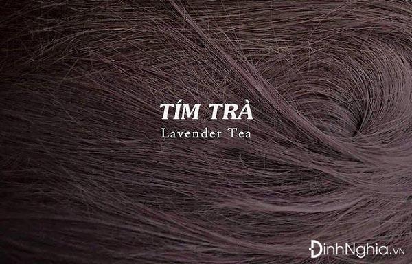 hình ảnh nhuộm tóc màu tím trà