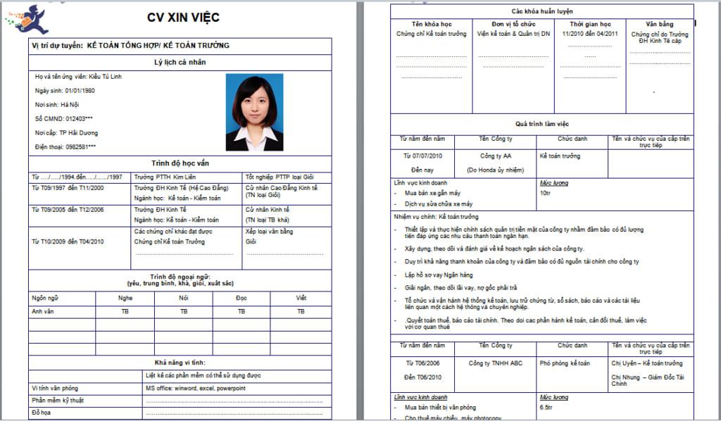 Mẫu CV tiếng Việt cơ bản