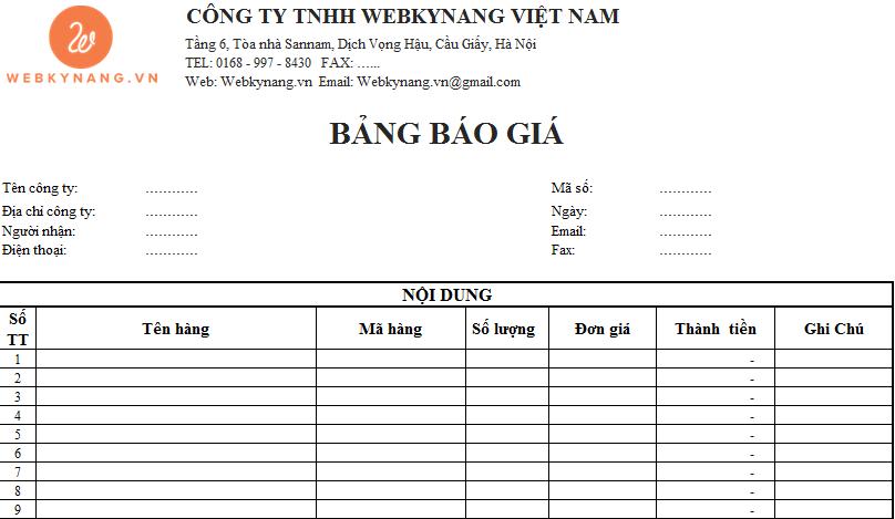 Nội dung cơ bản trong mẫu bảng báo giá