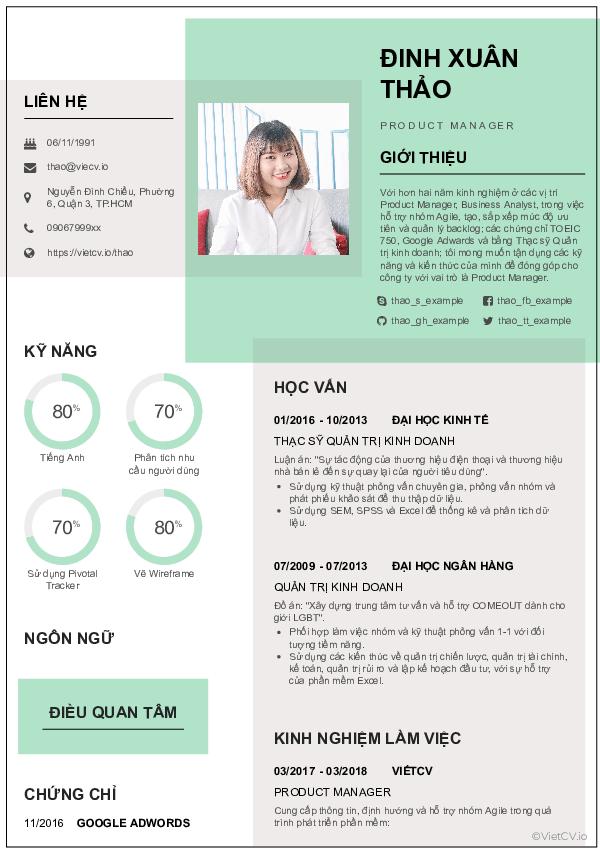 Nội dung của CV