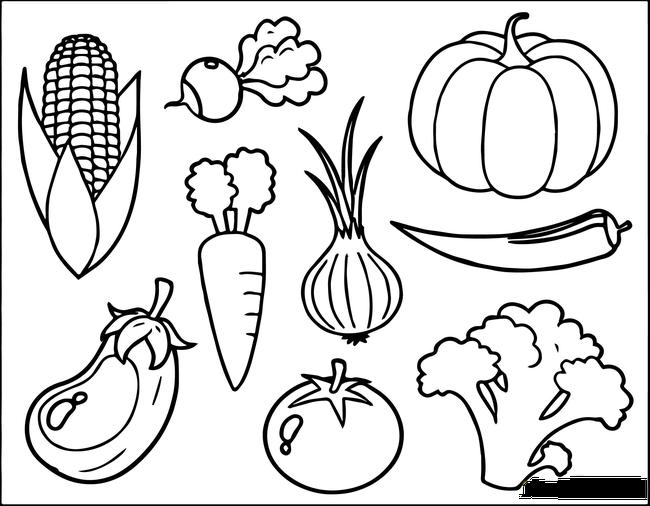 Tranh tô màu rau củ quả cực đáng yêu